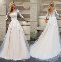 dropped wedding dresses Canada - 3 4 Sleeves Lace Appliqued Champagne Wedding Dress For Bride 2019 A Line Dropped Waist Scoop Bridal Dresses Wedding Gown