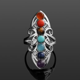 $enCountryForm.capitalKeyWord Australia - 1 Piece Classical Fashion Silver Color Plated 7 Chakra Healing Hollow Stones Adjustable Ring Thumb Reiki Gem Ring Jewelry