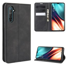 business card holder magnetic Australia - For Oppo K5   Realme XT   Realme X2 Retro-skin Business Magnetic Suction Leather Case with Holder & Card Slots & Wallet