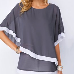 plus size clothing batwing shirt Australia - Solid Size Blouse Patchwork Chiffon Plus Casual Sexy Batwing O Neck 2019 Summer Large Size Women Shirts 4Xl 5Xl Clothes