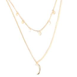 85b4b6898d4b Estilo europeo de moda joyería simple doble ronda lentejuelas collar luna  colgante cadena de bloqueo de múltiples capas gargantillas collares para  mujeres