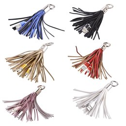 Tassel chinese online shopping - Tassel leather Micro pin usb cable data charging cables for samsung galaxy s6 s7 edge note htc android phone