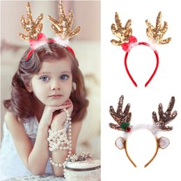 Discount reindeer christmas hair - OurWarm Reindeer Christmas Headbands Deer Horns Head Adornment Christmas Decorations on the Head Hair Accessories