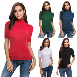 $enCountryForm.capitalKeyWord NZ - Womens Short Sleeve Solid Slim Fit Turtleneck Tee Shirt Ladies Top T Shirt womens tops and blusas mujer de moda 2019