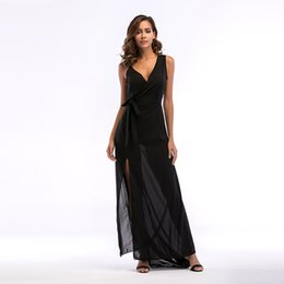 black deep v neck maxi dress Australia - Women's Chiffon Sleeveless Asymmetrical Deep V Neck Cross Wrap Split Front Waist Tie Side Split Slit Chiffon Long Maxi A-Line Dress Black