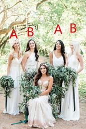 13d86a0b453 Une ligne en mousseline de soie col en V blanc robes de demoiselle  d honneur Différents styles même couleurs images sud-africaine robe de bal  de la ...