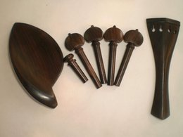 Violin Tail Australia - 2 Sets Quality Ebony Violin Fitting Natural Color with Pegs Tail Piece Chin Rest