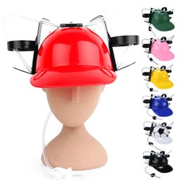 Wholesale Hat Beer Practical Adjustable Fun Unique Party Game Beer Soda Can Straw Holder Drinking Hard Hat Helmet Birthday Game Party fun