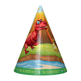 China 6pcs set New Dinosaur Theme Party Hats For Kids Happy Birthday Party Decroations Cartoon Green Paper Cap Children Supplies cheap paper hats kids suppliers