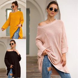 frauen freizeitkleidung artwinter großhandel-Herbst Winter Strickpullover Frauen Medium Art Sweatshirt Strickwaren beiläufige lose Pullover Pullover Langarm Stricken Pullover Top Kleidung