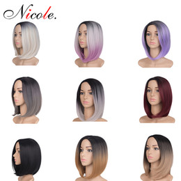 Full head wigs online shopping - Short Straight Omber Hair Wigs Women Bob Style Full Head Wig g Pack Heat Resistant Synthetic Real Thick Black Brown Blonde Hair