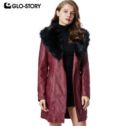 $enCountryForm.capitalKeyWord Australia - GLO-STORY Long Elegant Winter Faux Leather Jackets Women 2019 New Cycle Biker Fur Collar with Belt PU Coats WPY-9431 9432