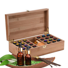 Bamboo Boxes Australia - High End Bamboo Essential Oil Box 25 Grids Essential Oil Bottle storage case for 5ml 10ml 15ml bottle Wooden Artistic Decorativ