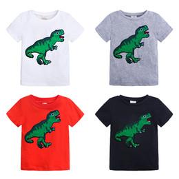 50662816 2019 New Summer Baby Boys Girls DinosaurT-shirts Cartoon Sequined Cotton  Short Sleeve T-shirts INS Children Tops Clothing
