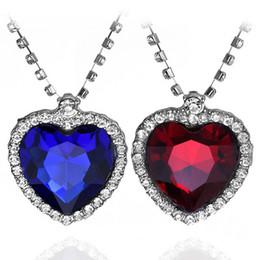 $enCountryForm.capitalKeyWord Australia - Classic Zircon Titanic Ocean Heart Necklace Sapphire Dark Blue Crystal Heart Pendant Statement Chain Necklace Woman Jewelry N54