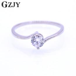 engagement ring finger for female 2019 - GZJY Fashion Round White Zircon White Gold Color Wedding Ring For Women Female Engagement Finger Anel Ring Jewelry Whole