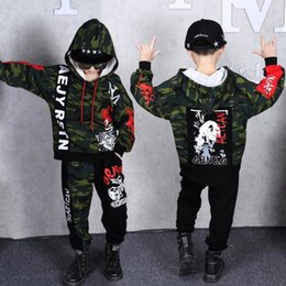 Camouflage pants for boys online shopping - Boys Girls Spring Clothing Set Hip hop Dancing Costumes Kids Army green camouflage Hoodies Pants Outfits For YearsMX190916