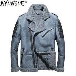 af1005a21c65 AYUNSUE Men s Leather Jacket Winter Genuine Leather Real Sheepskin Coat for  Men Natural Wool Fur Coat Blouson Cuir Homme KJ1414