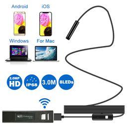 $enCountryForm.capitalKeyWord Australia - JMaoplus 2M Long 8mm IP68 Waterproof Wifi Endoscope 1200P Soft WiFi Borescope Inspection Camera HD Snake Camera for Android IOS
