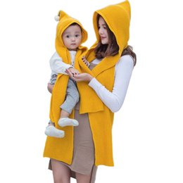 Cotton Ponchoes Australia - Winter Warm Women and Kid Cotton Hooded Poncho With Hiking Hat Scarves in 1 Lady Wraps Knitted Hood Scarf Solid