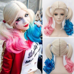 Wholesale quinn cosplay for sale – halloween Suicide Squad Harley Quinn Pink Wig Gradient Hair Cosplay Halloween Hot