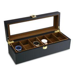 Wood Case For Glasses Australia - Top Quality 6 Grid Watch Storage Watch Organizer Display Case Wood Luxury Glass Top Wristwatch Box For Holder Men Valentine Gift