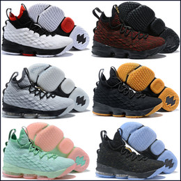 free shipping e56a7 d8c1f Cheap Men Kith X Lebron 15 Diamond Turf low tops basketball shoes Bred Black  Red White Gold boys girls outdoor sneakers Shoes Size 40-46