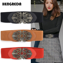 wholesale cinch belts UK - Wide Elastic Belt for Coat 2020 Women Corset Belt for Sweater& Skrit Hengreda Ladies Cinch with Flower Metal Buckle
