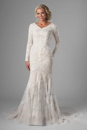 fa6223924904 New Mermaid Lace Long Modest Wedding Dresses 2019 With Long Sleeves V Neck  Champagne Vintage LDS Modest Bridal Gowns Couture Cusstom Made