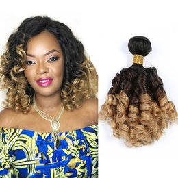 Ombre dyed weave online shopping - T1b Ombre Peruvian Fumi Human Hair Weave Bundles Three Tone Bouncy Curly Human Hair Bundles Double Weft Extensions
