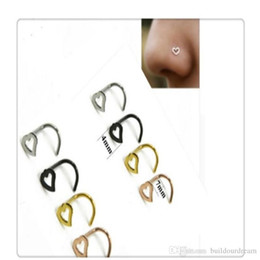 Open Hoop Nose Ring Australia - Body Jewelry Heart Nose Rings Screw Stud Ring Piercing Stainless Steel Nose Open Hoop Ring Earring Studs Free Shipping 2019030801