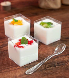 plastic boxing Australia - 70ml transparent disposable plastic box small cake boxes wedding birthday party favors baking decor cubic dessert cup