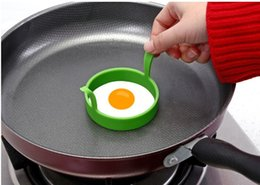 Egg Fry Rings Australia - Kitchen Round Ring Silicone with Handle Fried Oven Poacher Pancake Ring Mould Tool Egg Fry Mold silicone mold fry Egg mould