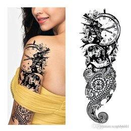 lips fish NZ - 1PC NEW 48*17cm Full Flower Arm Tattoo Sticker 40models Fish Peacock Lotus Temporary Body paint WaterBikini stickers for beach in summer