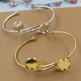 $enCountryForm.capitalKeyWord Australia - Fit 12MM DIY silver gold blank cuff bangle base jewelry fashion metal cuff bracelet tray bezel wristband setting for women girl