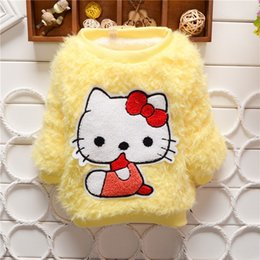 girls winter shirts for kids NZ - BibiCola Baby girl sweaters Kids cartoon cat thick pullover sweater shirt children winter warm clothes for girls