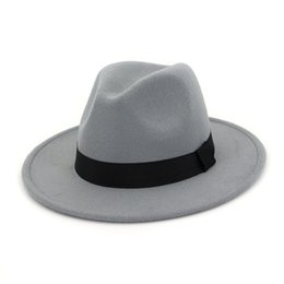 white formal hats for women Australia - DHL Womens Mens New Flat Brim Wool Felt Fedora Hats With Cowknot Knotted Jazz Formal Hat Panama Cap Trilby Chapeau for Men Women
