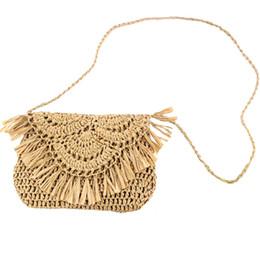 Hand Hooked Bag Australia - Tassel Straw Bag Paper Rope Hook Flower Big Flip Hand-Women Bag Casual Handbag Beach