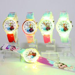 Discount relogio feminino watch - 100pcs lot Princess Children Watches Colorful Light Source Boys Girls Kids Party Gift Clock Wrist Relogio Feminino