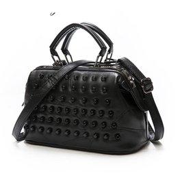 Sheepskin Hand Bag Australia - good quality Black Genuine Leather Women Messenger Bags Sheepskin Handbag Crossbody Bag Rivet Shoulder Hand Bag Bolas