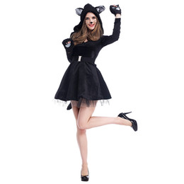 panda woman costume Australia - Lcw women,s New design Christmas Halloween costume cosplay sexy black cat dress costume panda animal play