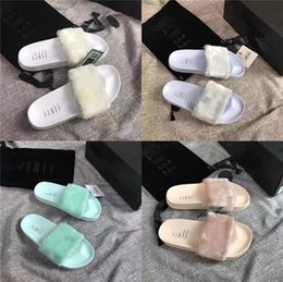 pu sandals china NZ - China Wholesale Fox Fur Slippers PVC Soft Indoor Outdoor Ladies Slides Multi Color Custom Sandals#703