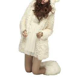 hooded cardigan ears UK - Women's Fluffy Shaggy Faux Fur Cape Coat Ears Bear Hooded Jacket Female Winter Warm Lamb Fur Outwear Cardigan Outwear Tops