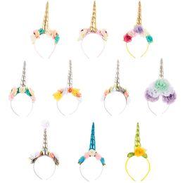 9a3b29663e2 Xmas Unicorn Headband Magical Pony Hairband Girls Chiffon Flower Hairband Fancy  dress Cosplay Kids Rainbow Unicorn Horn Party Hair Accessory