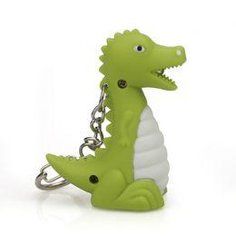 $enCountryForm.capitalKeyWord NZ - Cute Cartoon Green Dinosaur Keychain With LED Light Sound Kids Toy Gift Keychain Women Phone Case Wallet Key
