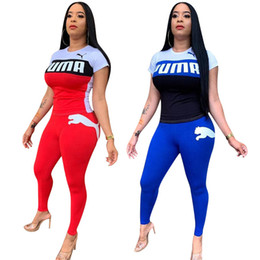 Wholesale fall neck t shirt online – design Women Designer Sweatsuit T shirt Leggings Two Piece Sets Short Sleeve Sports Suit Outfits Trousers Bodycon Pants Clothing Fall Selling