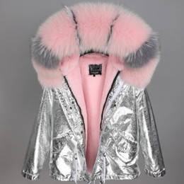 Fox Grey Australia - low price grey pink fox fur trim Threshold maomaokong brand pink rabbit fur liner mini silver jackets