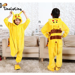 Wholesale funny christmas pajamas for sale – halloween Tinoluling Kids Pikachu Pajamas Children Animal Sleepwear Robe Boys Girls Funny Blanket Sleepers Baby Flannel Onesies Pyjamas J190520