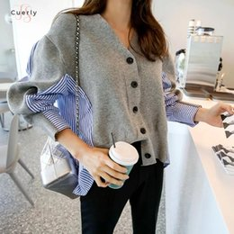 Wholesale cardigan sweater women stripes resale online - Patchwork Female Sweater Button Cardigan Laine Lovely V Neck Black Grey Sweaters Casual Autumn Knitting Jumper Stripe Tops