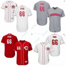 79290afe3 Men's Reds #66 Yasiel Puig Cincinnati New Cool Base Stitched Jersey Grey  Red White